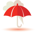 Umbrella with storm icon