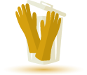 Garbage can and rubber gloves icon