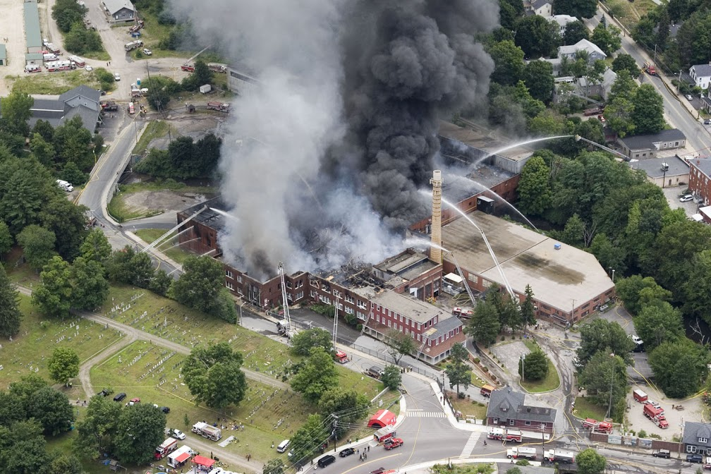 Aerial photo of studio fire