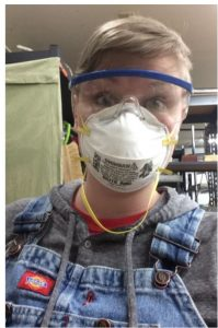 Picture of Amarette wearing Safety Glasses and Face Mask