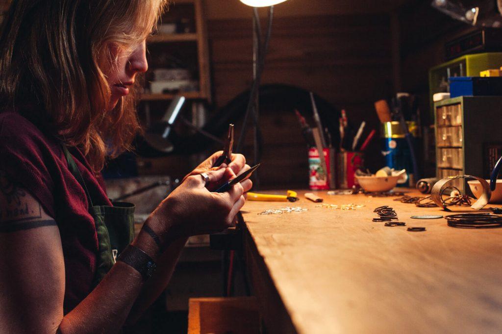 Jeweler April Hale in her Montana Studio