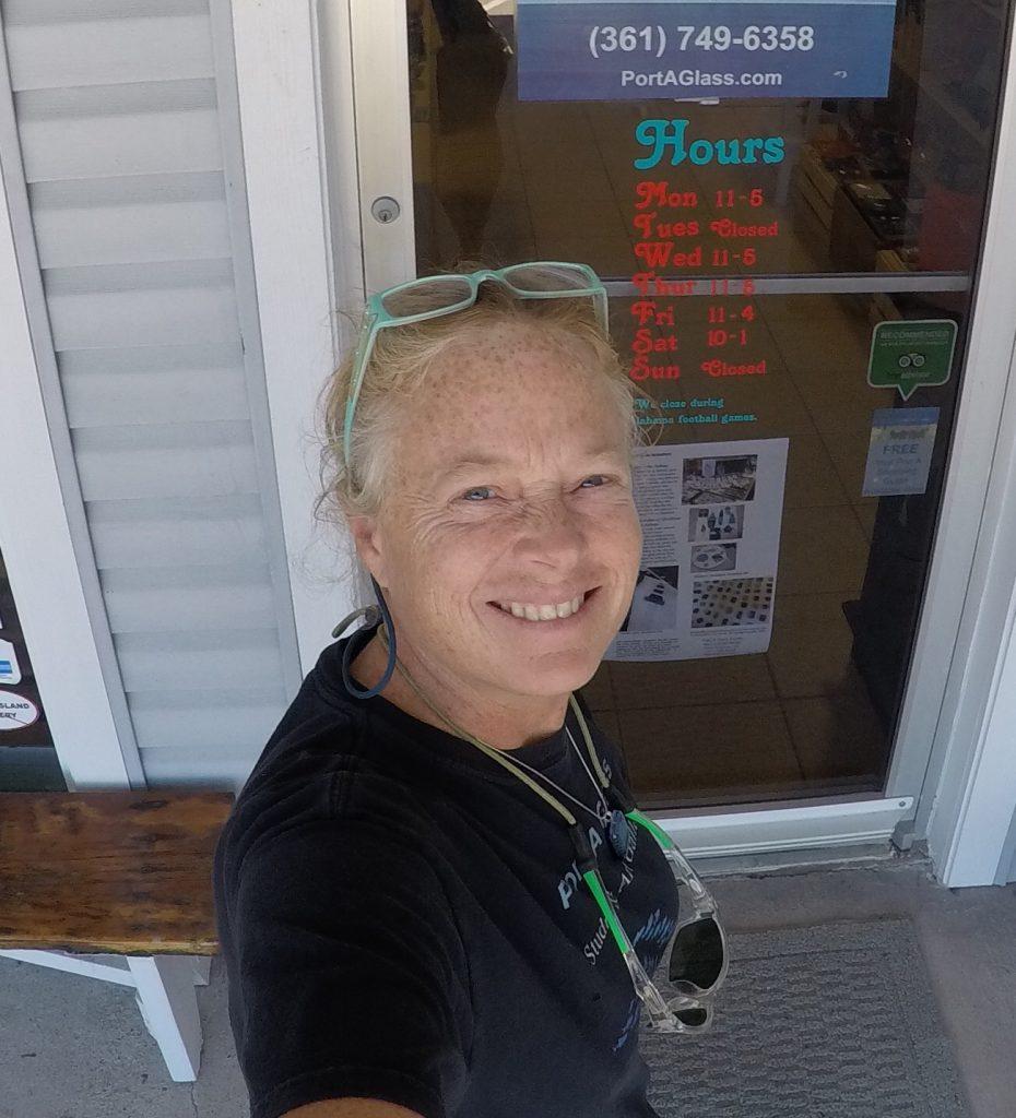 Owner + Artist of Port A Glass Studio & Gallery, Sheri Hargrove, Port Aransas, Texas