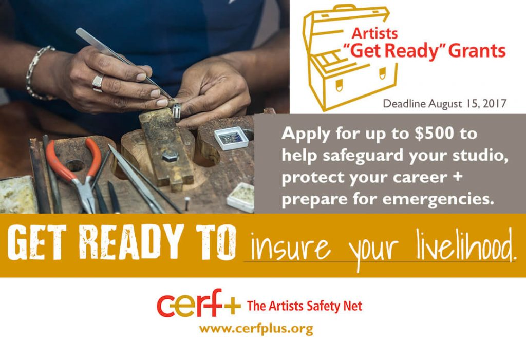 "Woman jeweler image with Artist ""Get Ready"" Grant Announcement"