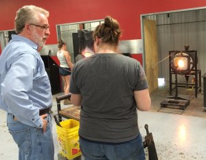 Curator Mark Leach visits an artist in her glass studio.